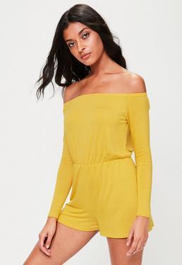 Żółty krótki kombinezon bardot