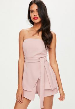 Pink Bandeau Tie Waist Playsuit