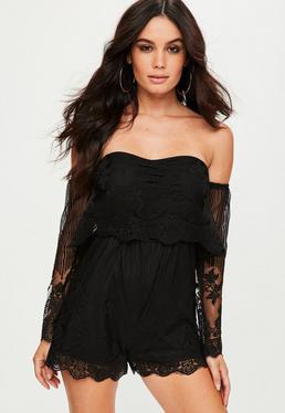 Black Lace Bardot Romper