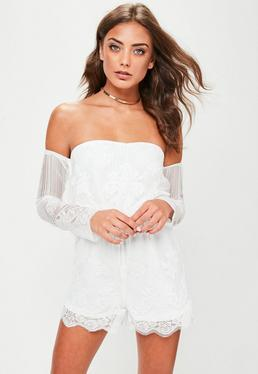 White Lace Bardot Playsuit
