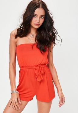 Orange Jersey Bandeau Playsuit