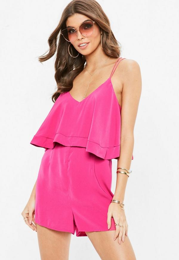 Pink Strappy Double Layer Playsuit