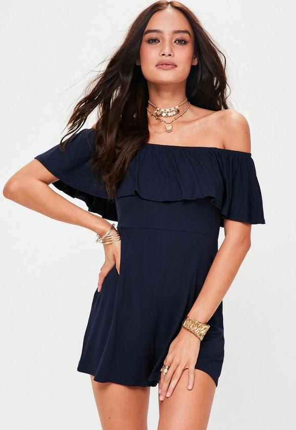 Navy Jersey Bardot Playsuit