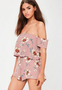 Pink Crepe Floral Overlay Playsuit