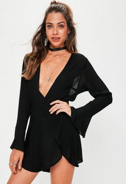 Black Cheesecloth Plunge Romper