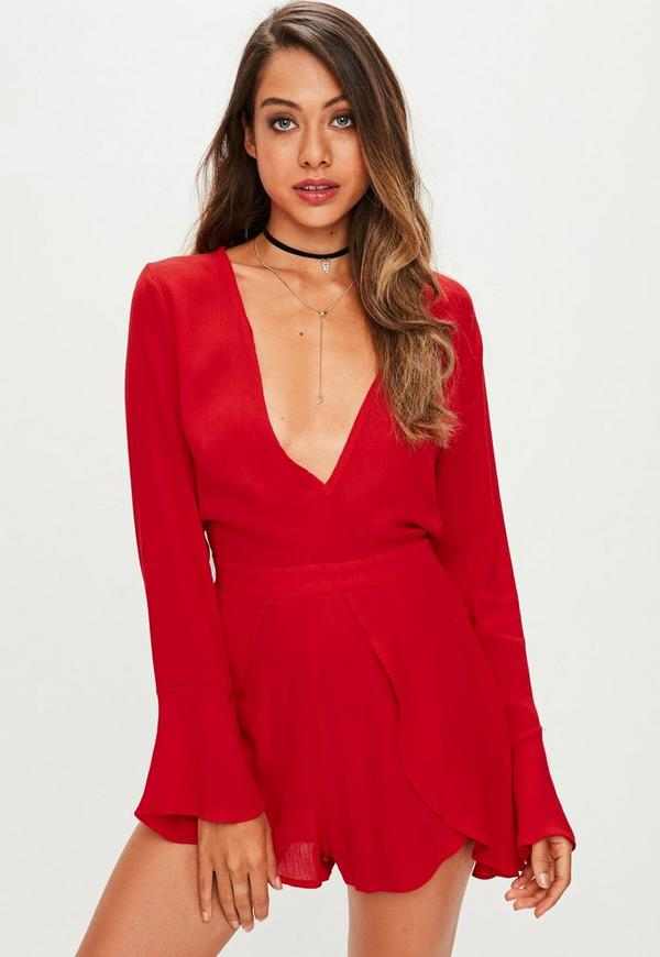 Red Plunge Playsuit
