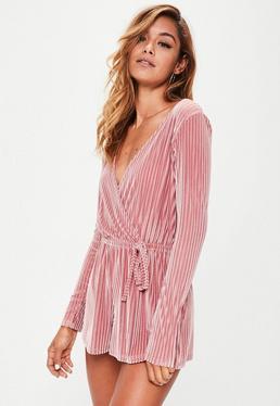 Pink Stripe Velvet Wrap Romper