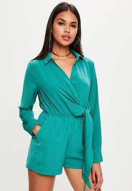 Green Wrap Front Shirt Romper
