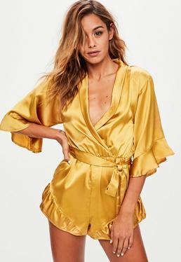 Yellow Satin Kimono Romper