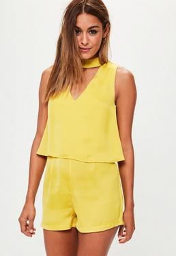 Yellow Double Layer Choker Playsuit