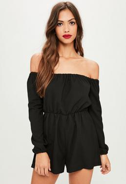 Black Plain Bardot Georgette Romper