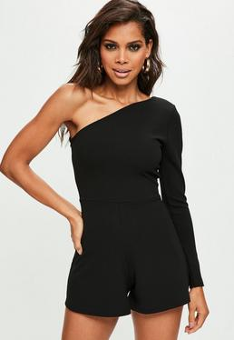 Black One Shoulder Asymmetric Romper