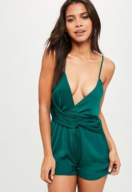 Green Twist Front Strappy Playsuit