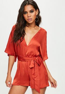 Orange Kimono Sleeve Romper