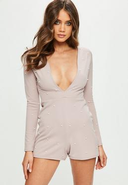 Pink Plunge Pearl Studded Playsuit