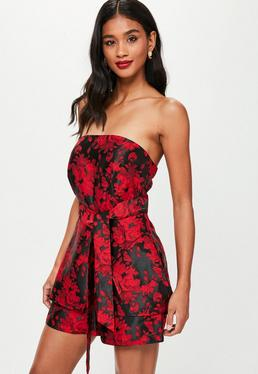 Red Jacquard Skort Playsuit