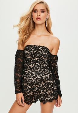Black Lace Bardot Playsuit