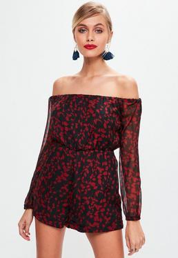Black Floral Printed Bardot Playsuit