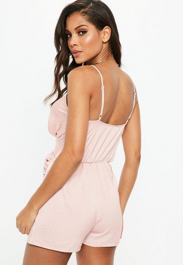 67b1510908d4 Nude Twist Front Strappy Romper.  42.00. Previous Next