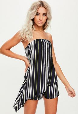 Navy Stripe Asymmetric Overlay Bardot Playsuit