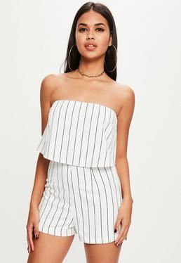 White Stripe Double Layer Bandeau Romper
