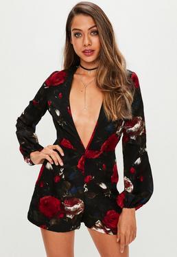 Black Floral Plunge Romper