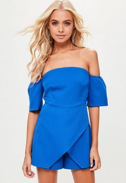Blue Bardot Skort Romper