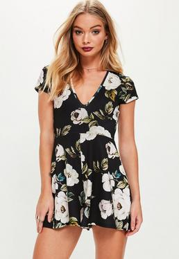 Black Cap Sleeve Dark Floral Printed Romper