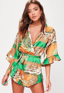 Green Satin Kimono Print Playsuit