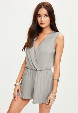 Grey Sleeveless Wrap Romper