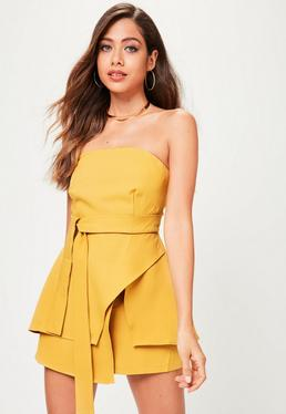 Yellow Bandeau Tie Waist Skorts Playsuit