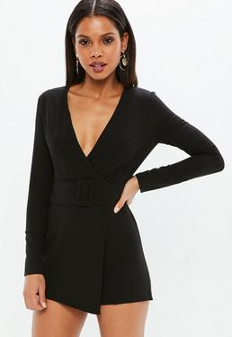 Black Wrap Front Belted Tailored Playsuit