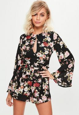Black All Over Floral Long Sleeve Romper