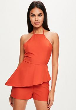 Orange Racer Neck Frill Romper