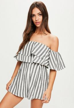 Grey Stripe Double Layer Bardot Romper