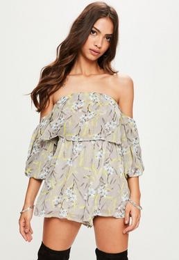Grey Floral Blouson Sleeve Overlay Romper