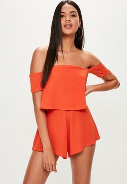 Orange Crepe Overlay Bardot Romper