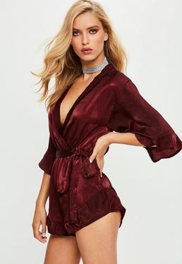 Burgundy Satin Kimono Playsuit