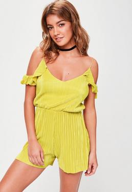 Yellow Cold Shoulder Playsuit