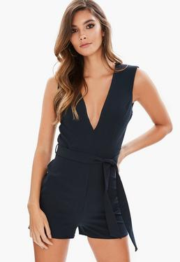 Navy Plunge Tailored Romper