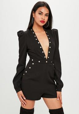 Black Studded Plunge Ruched Sleeve Playsuit