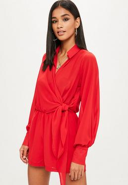 Red Wrap Front Shirt Playsuit