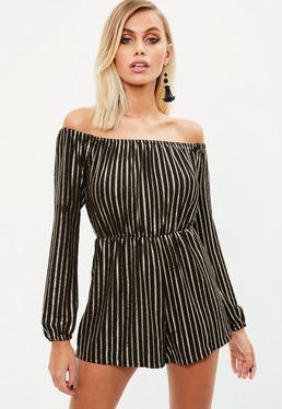Black Bardot Lurex Stripe Romper