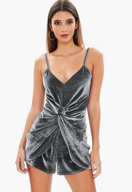 Grey Velvet Twist Front Playsuit