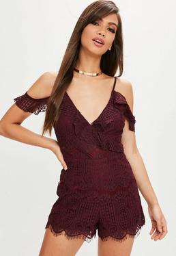 Burgundy Lace Cold Shoulder Sleeve Romper