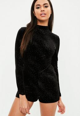 Black High Neck Glitter Velvet Playsuit