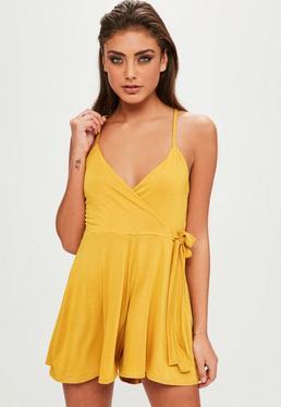 Yellow Jersey Cami Wrap Playsuit