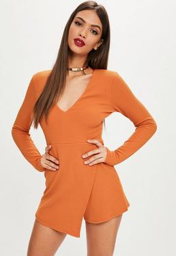 Orange Longsleeve Crepe Wrap Skort Playsuit