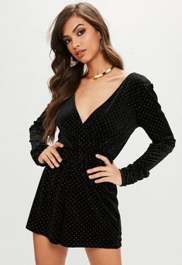 Black Stud Velvet Wrap Ruched Sleeve Playsuit
