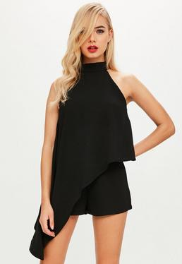 Black High Neck Asymetric Romper